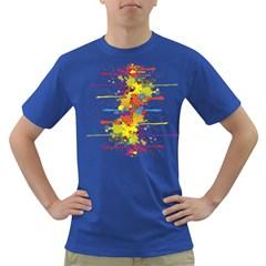 Crazy Multicolored Double Running Splashes Dark T-Shirt