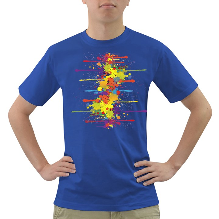 Crazy Multicolored Double Running Splashes Dark T-Shirt