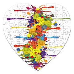 Crazy Multicolored Double Running Splashes Jigsaw Puzzle (Heart)