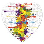 Crazy Multicolored Double Running Splashes Jigsaw Puzzle (Heart) Front