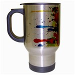 Crazy Multicolored Double Running Splashes Travel Mug (Silver Gray) Left