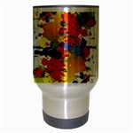 Crazy Multicolored Double Running Splashes Travel Mug (Silver Gray) Center
