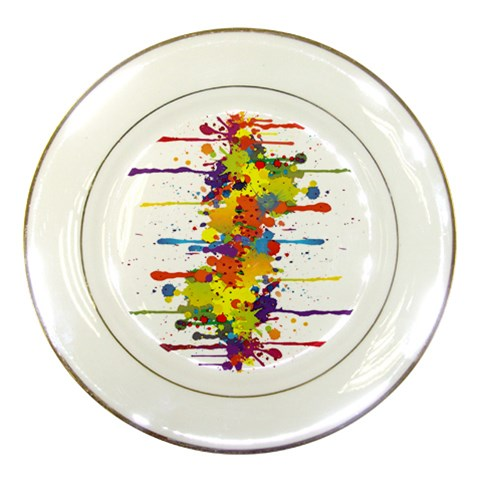 Crazy Multicolored Double Running Splashes Porcelain Plates