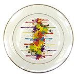 Crazy Multicolored Double Running Splashes Porcelain Plates Front