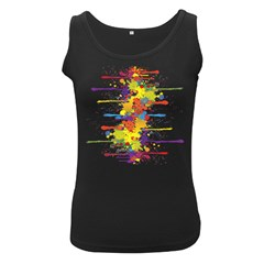 Crazy Multicolored Double Running Splashes Women s Black Tank Top