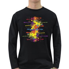 Crazy Multicolored Double Running Splashes Long Sleeve Dark T-Shirts