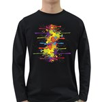 Crazy Multicolored Double Running Splashes Long Sleeve Dark T-Shirts Front