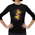 Crazy Multicolored Double Running Splashes Women s Long Sleeve Dark T-Shirts Front