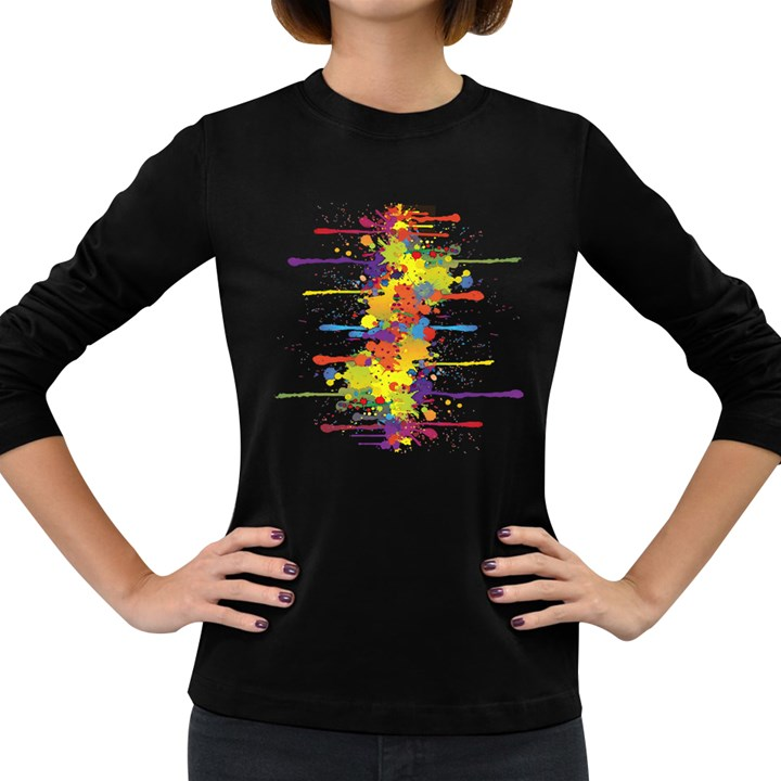 Crazy Multicolored Double Running Splashes Women s Long Sleeve Dark T-Shirts