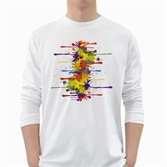 Crazy Multicolored Double Running Splashes White Long Sleeve T-Shirts