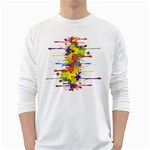 Crazy Multicolored Double Running Splashes White Long Sleeve T-Shirts Front