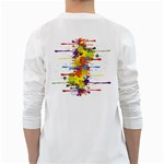 Crazy Multicolored Double Running Splashes White Long Sleeve T-Shirts Back