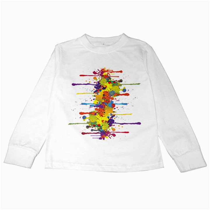 Crazy Multicolored Double Running Splashes Kids Long Sleeve T-Shirts