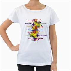 Crazy Multicolored Double Running Splashes Women s Loose Fit T Shirt (white)