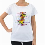 Crazy Multicolored Double Running Splashes Women s Loose-Fit T-Shirt (White) Front