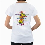 Crazy Multicolored Double Running Splashes Women s Loose-Fit T-Shirt (White) Back