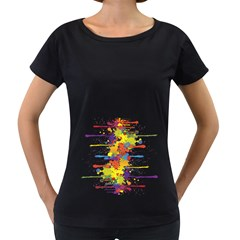 Crazy Multicolored Double Running Splashes Women s Loose-Fit T-Shirt (Black)