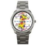 Crazy Multicolored Double Running Splashes Sport Metal Watch Front