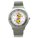 Crazy Multicolored Double Running Splashes Stainless Steel Watch Front