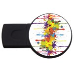 Crazy Multicolored Double Running Splashes USB Flash Drive Round (4 GB)  Front