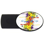 Crazy Multicolored Double Running Splashes USB Flash Drive Oval (4 GB)  Front