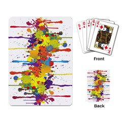 Crazy Multicolored Double Running Splashes Playing Card