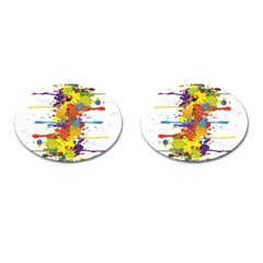 Crazy Multicolored Double Running Splashes Cufflinks (oval)