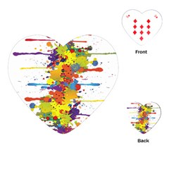 Crazy Multicolored Double Running Splashes Playing Cards (Heart)
