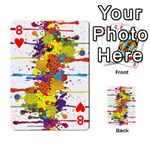 Crazy Multicolored Double Running Splashes Playing Cards 54 Designs  Front - Heart8