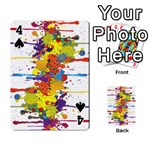 Crazy Multicolored Double Running Splashes Playing Cards 54 Designs  Front - Spade4