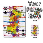 Crazy Multicolored Double Running Splashes Playing Cards 54 Designs  Front - Spade10