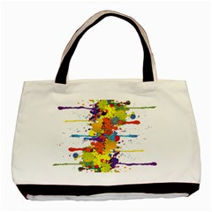 Crazy Multicolored Double Running Splashes Basic Tote Bag