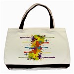 Crazy Multicolored Double Running Splashes Basic Tote Bag Front