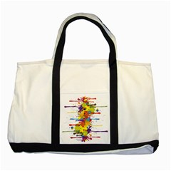 Crazy Multicolored Double Running Splashes Two Tone Tote Bag