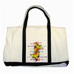 Crazy Multicolored Double Running Splashes Two Tone Tote Bag Front