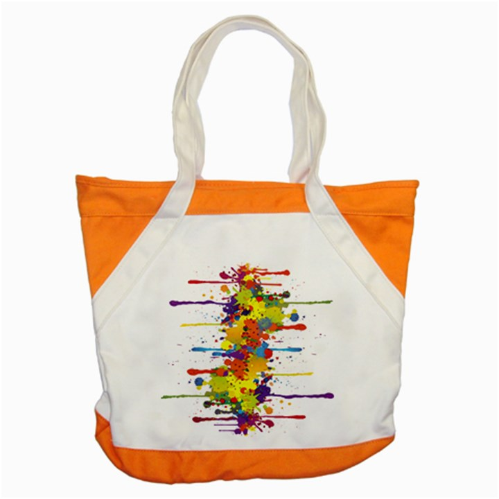 Crazy Multicolored Double Running Splashes Accent Tote Bag