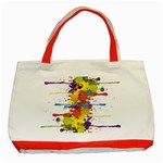 Crazy Multicolored Double Running Splashes Classic Tote Bag (Red) Front