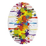 Crazy Multicolored Double Running Splashes Oval Ornament (Two Sides) Back