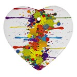Crazy Multicolored Double Running Splashes Heart Ornament (2 Sides) Back
