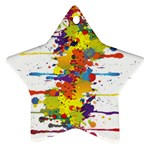 Crazy Multicolored Double Running Splashes Star Ornament (Two Sides)  Back