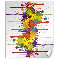 Crazy Multicolored Double Running Splashes Canvas 8  X 10