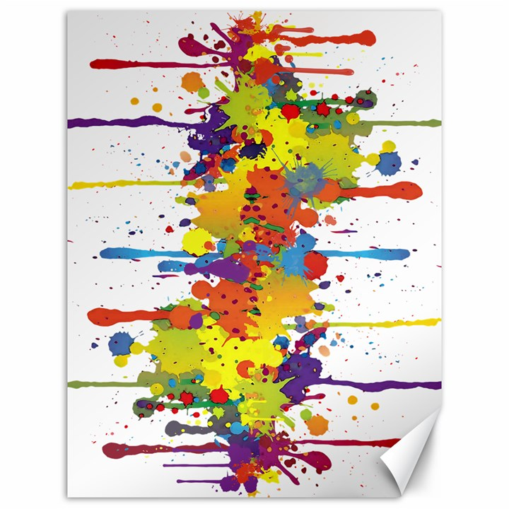 Crazy Multicolored Double Running Splashes Canvas 12  x 16
