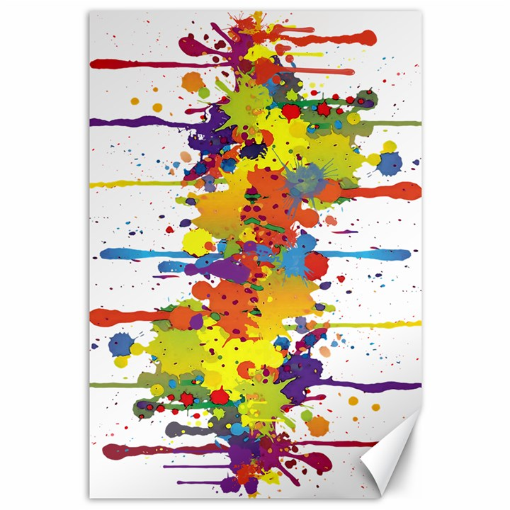 Crazy Multicolored Double Running Splashes Canvas 12  x 18