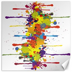 Crazy Multicolored Double Running Splashes Canvas 16  X 16