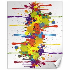 Crazy Multicolored Double Running Splashes Canvas 16  X 20