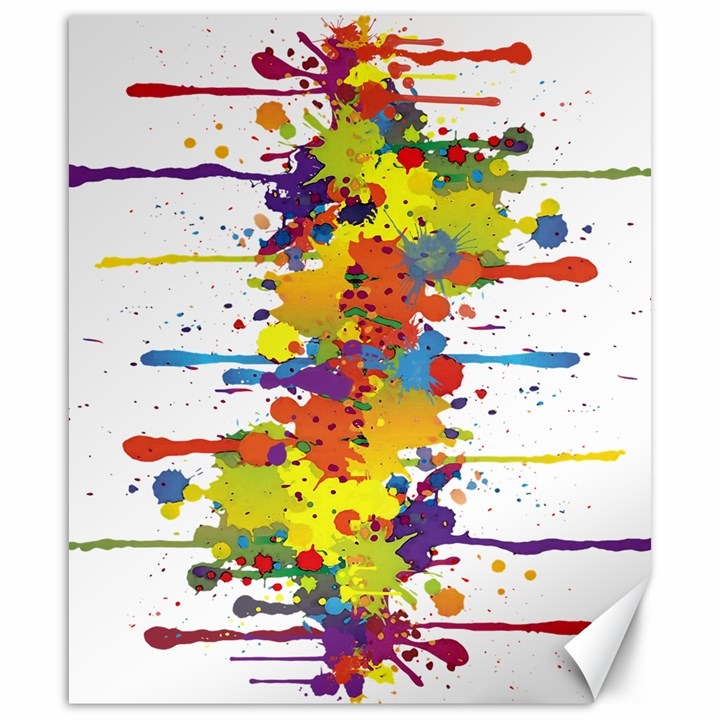 Crazy Multicolored Double Running Splashes Canvas 20  x 24