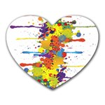 Crazy Multicolored Double Running Splashes Heart Mousepads Front