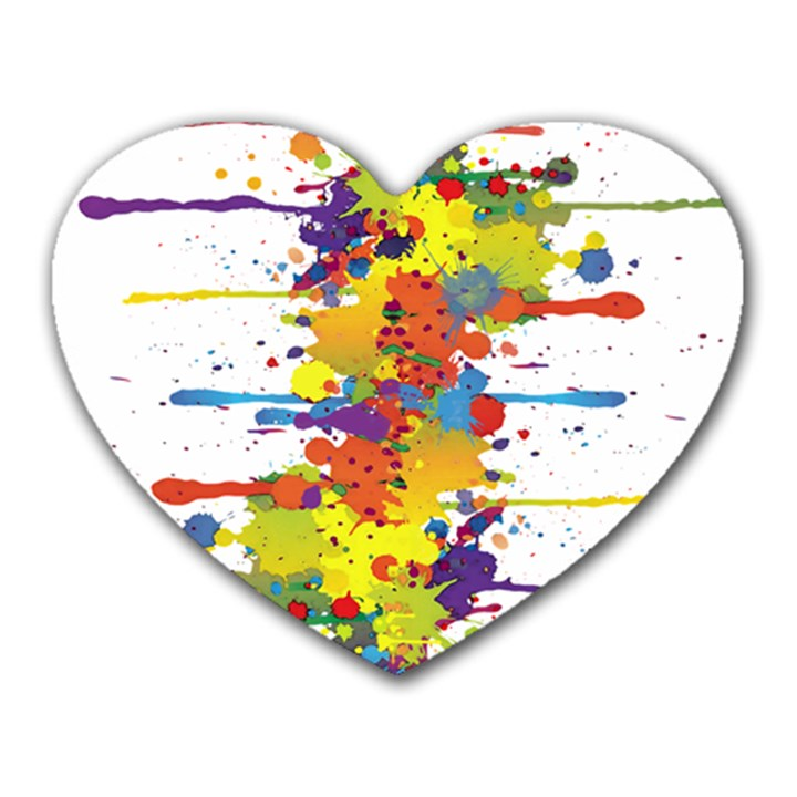 Crazy Multicolored Double Running Splashes Heart Mousepads