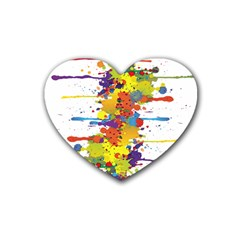 Crazy Multicolored Double Running Splashes Heart Coaster (4 Pack)