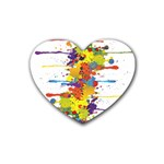 Crazy Multicolored Double Running Splashes Heart Coaster (4 pack)  Front